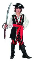 Kinderkostuum Piratenjongen gestreept - rood/zwart