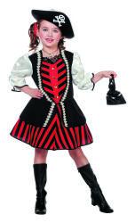 Kinderkostuum Piratenmeisje gestreept - rood/zwart