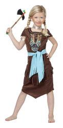 Meisjeskostuum Indiaanse Luxe - donkerbruin/turquoise