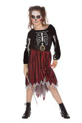 Meisjeskostuum Horror Piraat - Skelet