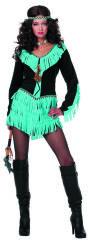 Dameskostuum Indiaan - turquoise/zwart