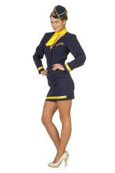 Dameskostuum Stewardess Luxe - donkerblauw