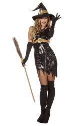 Dameskostuum Heks met Pailletten - zwart
