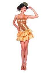 Damesjurk met Pailletten en Satijnen Rokje - goud