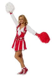 Luxe Cheerleader Kostuum voor Dames - rood/wit