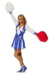 Luxe Cheerleader Kostuum voor Dames - blauw/wit