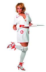 Dameskostuum Verpleegster - wit/rood