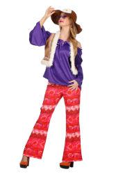 Hippie Dameskostuum - paars/rood
