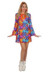 Dameskostuum Hippie jurk - oranje/blauw/paars