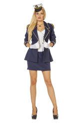 Dameskostuum Sexy Kapitein - Donkerblauw