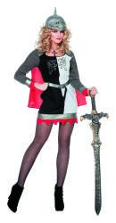 Sexy Ridderdame Kostuum - zwart/wit