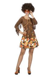 Hippie Jurk Patty met Franjes - bruin