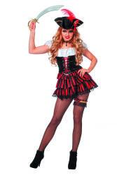 Dameskostuum Sexy Piraat - zwart/rood