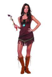 Dameskostuum Indiaan met Veertje - bruin
