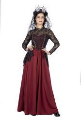 Gothic Kostuum voor Dames - rood/zwart