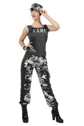 Dameskostuum Camouflage incl. Pet - grijs