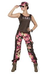 Dameskostuum Camouflage incl. Pet - roze
