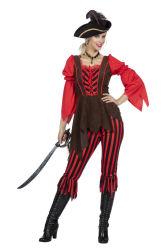 Piratenkostuum voor Dames - zwart/rood