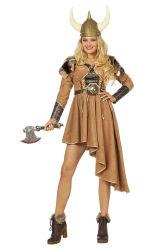 Viking kostuum ''Lagertha'' voor Dames - lichtbruin