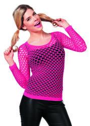 Netshirt Lange Mouwen - neon roze
