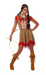 Indiaanse Minehaha Dameskostuum - bruin/rood