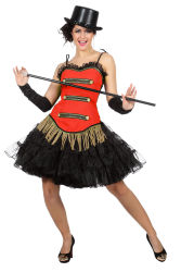 Circus Corset Dameskostuum - rood/zwart