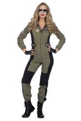 Catsuit Piloot voor Dames - groen/zwart