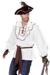 Linnen Piraten Blouse voor Heren - wit