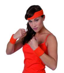 Set zweetbandjes+hoofdband - neon oranje