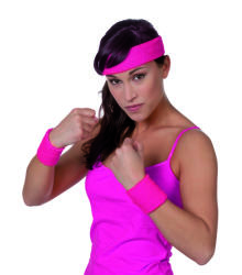 Set zweetbandjes+hoofdband - neon roze