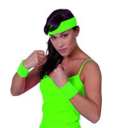 Set zweetbandjes+hoofdband - neon groen