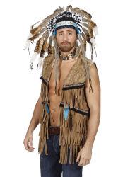Heren Vest voor Indiaan en Hippie - bruin