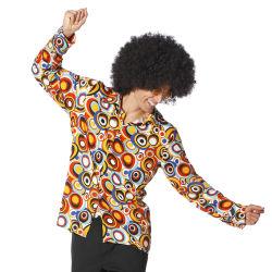 Jaren 70 Hippie Overhemd Cirkels - multi kleur