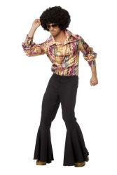 Jaren 80 Disco Shirt voor Heren - multi kleur