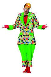 Herenkostuum Clown Vakjes - groen