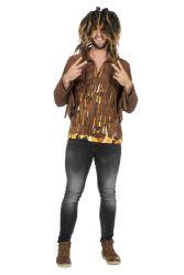 Hippie Top voor Heren moet Franjes - bruin