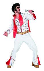 Luxe Elvis Herenkostuum - wit/goud/rood