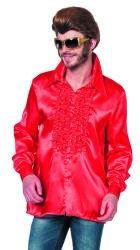 Unisex Ruchesblouse Satijn - rood