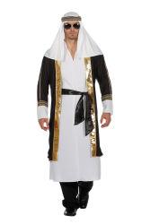 Sjeik Kostuum voor Heren - wit/zwart/goud