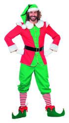 Kerst Elf Kostuum voor Heren - rood/groen