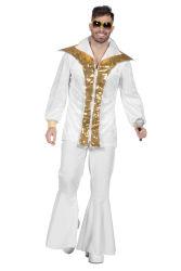 Disco Elvis Kostuum voor Heren - wit/goud