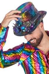 Hoge hoed met bril Burning man rainbow