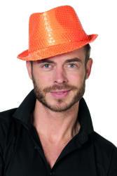 Gangsterhoed met Pailletten - neon oranje