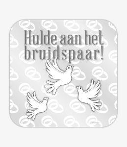 Huldeschild bruidspaar witte duiven