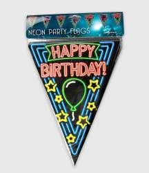 Neon vlaggenlijn - Happy birthday