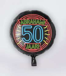 Folie Ballon Neon - Abraham 50 Jaar -S40