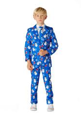 Christmas Blue Socks Snowman Jongens Kostuum