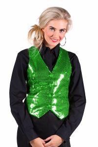 Paillettenvest groen voor dames