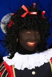 Pruik Pepita, Zwart-Rood, Luxe
