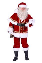 Kerstman fluweel deluxe met cape, Rood